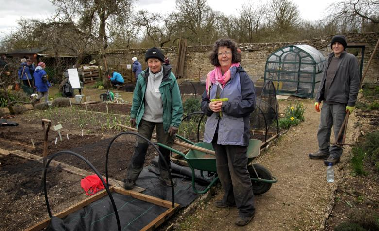 Volunteers in the walled garden
